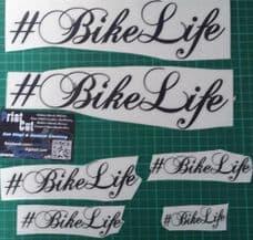 #BIKELIFE  6 assorted sized  Hashtag Bikelife stickers-  V3