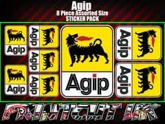 Agip Sticker Pack 8 Piece assorted size, Cagiva, Derbi, Vespa, Gilera, Swingarm