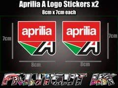 Aprilia A Logo DECAL STICKERS x2 Fairing RS50 RS125 RSV4 Tuono Dorsoduro Factory