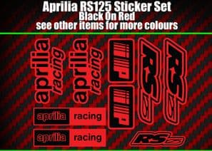 Aprilia RS125 DECALS STICKERS Red & Black  RS 125 Racing IP, 9 piece