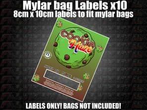 COOKIE HAZE MYLAR BAG POUCH LABELS 10CM X 8CM Cali Stickers RX Medical