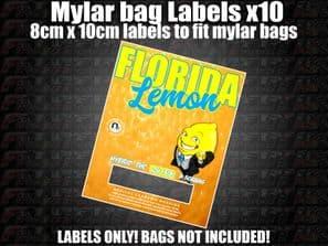 FLORIDA LEMON MYLAR BAG POUCH LABELS 10CM X 8CM Cali Stickers RX Medical