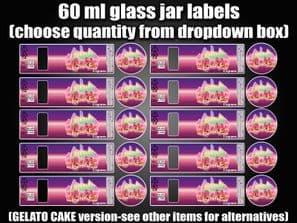 GELATO CAKE 60ml glass cali jar labels RX pressitin HIGH QUALITY