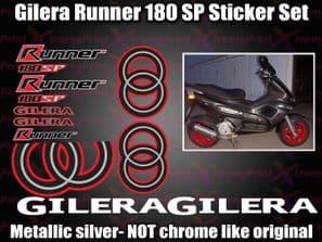 Gilera Runner 180 SP Stickers Decals, Red Black Silver White