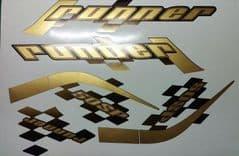 Gilera Runner 50/125 sp new shape sticker set, black soul, Gold/black Printed Decals