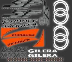Gilera Runner SP Stickers Decals, FLuorescent Orange Set, Kit, Rep, 50 70 125 172 180