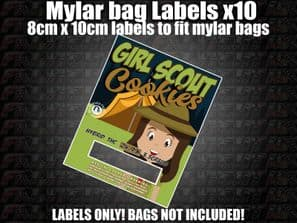 GIRL SCOUT COOKIES MYLAR BAG POUCH LABELS 10CM X 8CM Cali Stickers RX Medical
