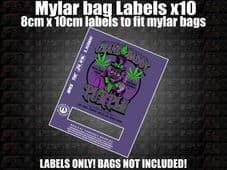 GRANDDADDY PURPLE MYLAR BAG POUCH LABELS 10CM X 8CM Cali Stickers RX Medical