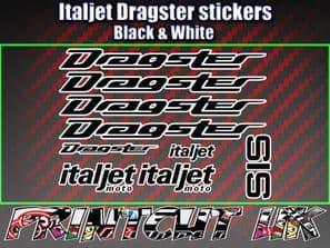 Italjet Dragster Decals Stickers BLACK & WHITE 9 piece set 50 70 125 172 180