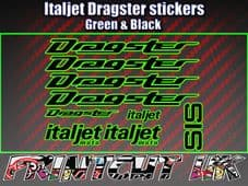 Italjet Dragster Decals Stickers GREEN & BLACK 9 piece set 50 70 125 172 180