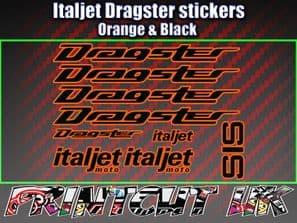 Italjet Dragster Decals Stickers ORANGE & BLACK 9 piece set 50 70 125 172 180