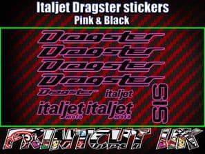 Italjet Dragster Decals Stickers PINK & BLACK 9 piece set 50 70 125 172 180