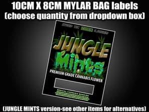 JUNGLE MINTS MYLAR BAG POUCH LABELS 10CM X 8CM Cali Stickers RX Medical