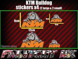Ktm Bulldog Stickers x4 Duke sx mx exc sxf xc-w gs mxc 690 RC8 supermoto car van