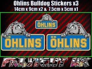 Ohlins Bulldog Decal Stickers x3 Suspension car van Bike Shock motorcycle biker