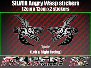 Pair of SILVER Angry Wasp Stickers laptop helmet bike car scooter vespa hornet