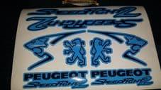 Peugeot Speedfight 2 Sticker/Decal Set  *BLUE & BLACK* 50, 70, 100, speedy pug