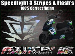 Peugeot Speedfight 3 Stripes & Flash's Sticker kit Correct Size 10 piece set 50 125 SF3