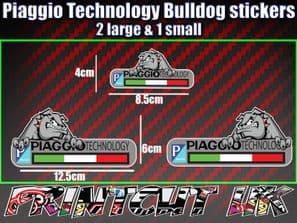 piaggio Technology Bulldog Stickers x3 Decal, Mod, Scooter, zip typhoon vespa
