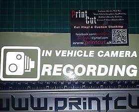 REFLECTIVE IN VEHICLE CAMERA RECORDING  Sticker x1 Car, Van, Lorry, truck, cab
