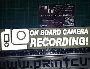 REFLECTIVE ON BOARD CAMERA RECORDING  Sticker x1 BIKE, SCOOTER, GOPRO GO PRO