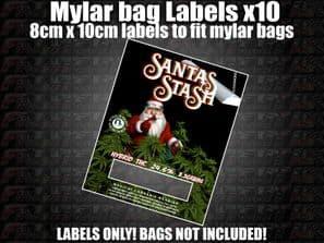 SANTAS STASH MYLAR BAG POUCH LABELS 10CM X 8CM Cali Stickers RX Medical