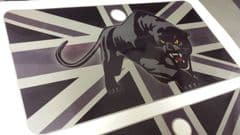 Scomadi Glove Box Sticker Wrap Decal BLACK/GREY/SILVER UNION JACK with PANTHER