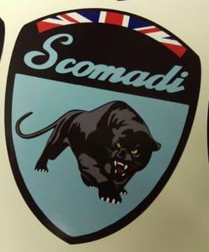Scomadi Logo Badge Printed Decal Sticker Custom OCEAN BLUE FP TL 50 125 200