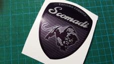 Scomadi Logo Badge Printed Decal Sticker innocenti mod nos vinyl BLACK CARBON