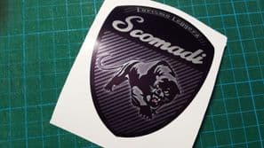 Scomadi Logo Badge Printed Decal Sticker innocenti mod nos vinyl BLACK CARBON