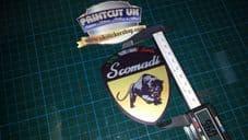 Scomadi Logo Printed Decal Sticker Vespa innocenti lambretta mod nos vinyl GOLD