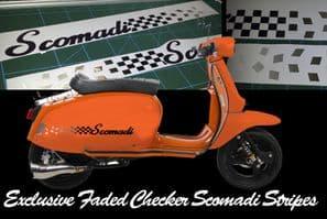 Scomadi TL125 TL50 side panel stripe sticker kit  Fade Chequers Checkers