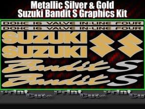 Suzuki BANDIT S Silver & Gold Sticker Set GSF 600 650 750 1200 K1 k2 8 piece kit