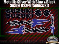 Suzuki GSXF Blue Black Silver Graphics Sticker Kit, 7 piece Set