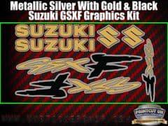 Suzuki GSXF Gold Black Silver Graphics Sticker Kit, 7 piece Set