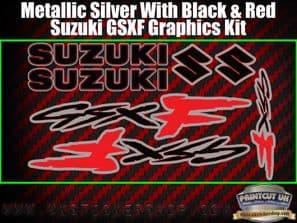 Suzuki GSXF Red Black Silver Graphics Sticker Kit, 7 piece Set