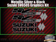 Suzuki SV650S Black and Silver Graphics Sticker Kit, 10 piece Set