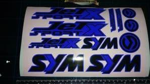 Sym Jetsport X Stickers / Decals BLUE & Black 11 piece printed vinyl, 50, 125,