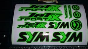 Sym Jetsport X Stickers / Decals, Green & Black 11 piece printed vinyl, 50, 125,