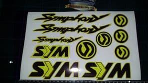 Sym Symphony Stickers / Decals YELLOW &  Black 11 piece printed vinyl, 50, 125,
