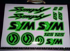 Sym Symply 1, 2 Stickers / Decals GREEN & Black 14 piece printed vinyl, 50, 125,