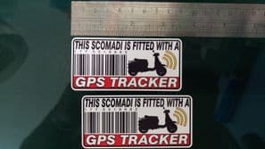 This SCOMADI Is Fitted with a GPS Tracker Stickers Decal x2 Alarm Lock Antitheft