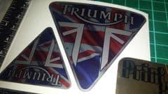 Triumph Tank Decals x4 Union Jack Style, Tiger, trophy, speed, sprint