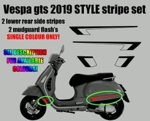 Vespa GTS Super 2019 HPE style Decal / Sticker stripe Kit custom aftermarket