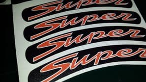 Vespa GTS Super Rim tape Wheel stickers MATT / SATIN BLACK 125 200 250 300