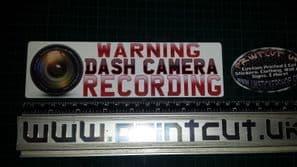WARNING DASH CAMERA RECORDING  HD lens Sticker x1, Car, Van, Lorry, safety bike