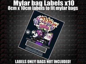 WEDDING CRASHER MYLAR BAG POUCH LABELS 10CM X 8CM Cali Stickers RX Medical