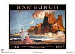 Bamburgh - Castle - Railway & Travel Poster