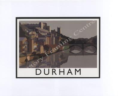 Durham - Modern Railway Poster Style Mounted Print