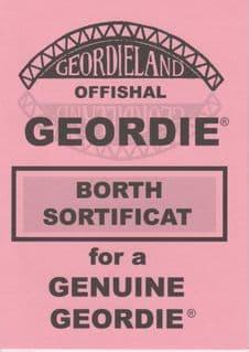 Geordieland Offishal Borth Sortificat - Pink